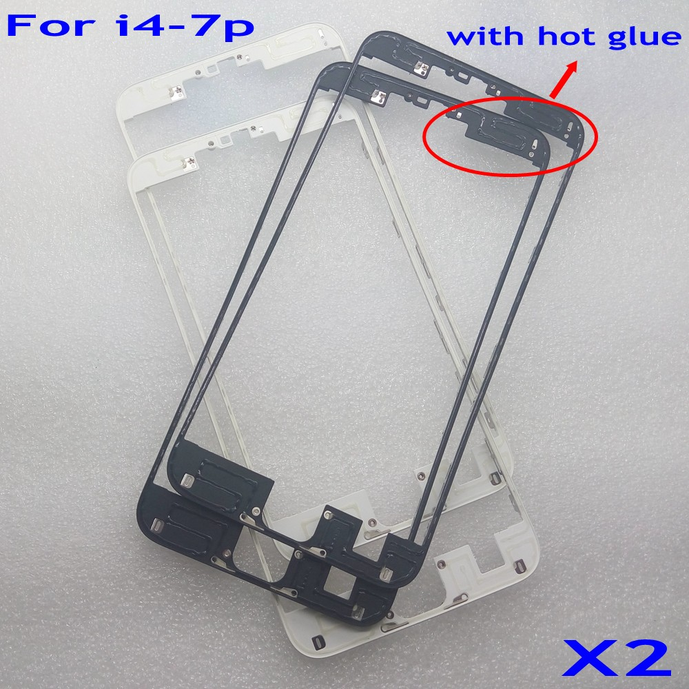 2pcs Front Bezel with hot glue for iPhone 4 5 6 6s 7 plus LCD Middle Frame Housing Parts Screen Holder Replacement part