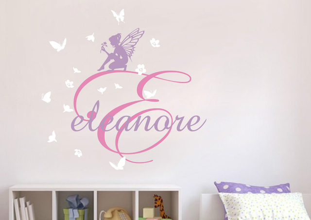 D119 Fairies Flower Custom Personalised Name Wall Stickers Kids Nursery  Decal Decor Vinyl Stickers Home Decor Part 85