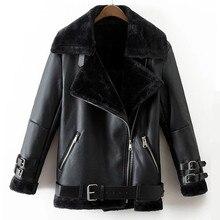Faux Leather Suede Coat Aviator Black Leather Jacket Winter Warm Lambs Wool Fur Collar Suede Jackets Shearling Coats Women