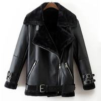 Faux Leather Suede Coat Aviator Black Leather Jacket Winter Warm Lambs Wool Fur Collar Suede Jackets