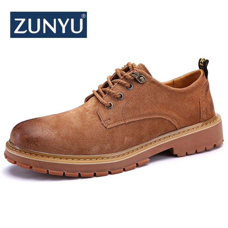 цена на ZUNYU New High Quality Men Casual Sheos New Genuine Leather Flat Shoes Men Oxford Fashion Lace Up Brand Men's shoes Work Shoes