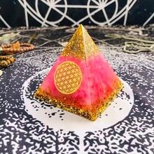 Orgonite Pyramid Ariel Anahata Chakra Natural Powder Crystal Improve Human Creativity Resin Pyramid Crafts Decoration