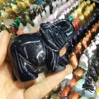 3 inch Blue gold sandstone amimal figurines carved artificial crystal elephant statue