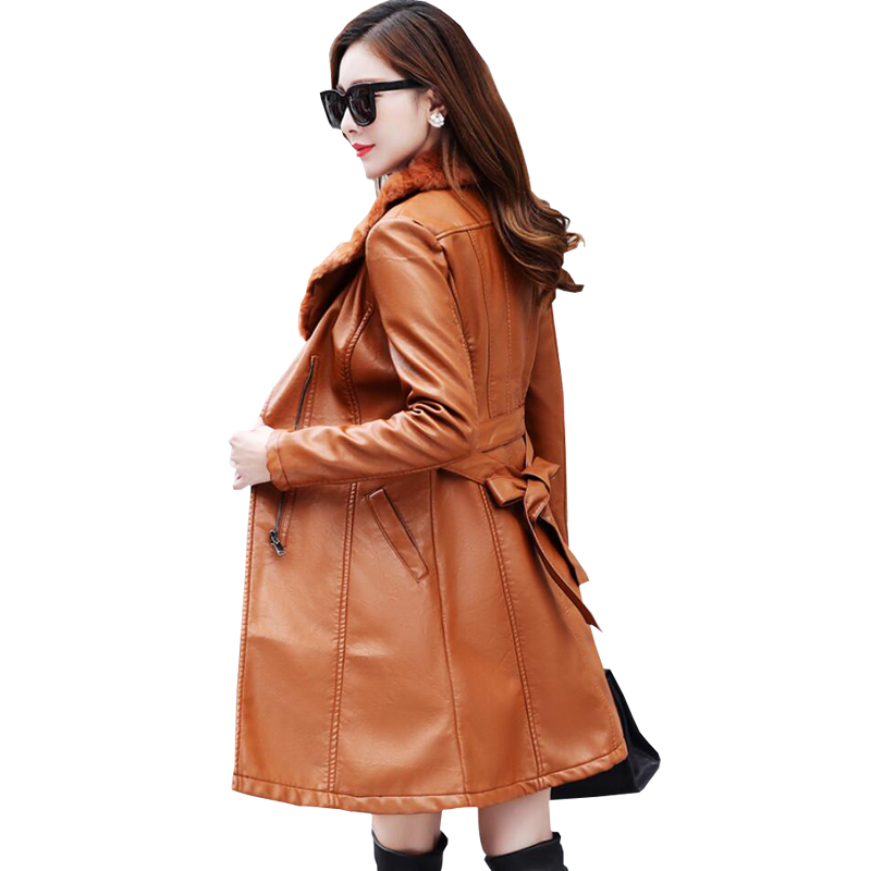 Cuir orange À D'hiver Noir Femelle Col Daim Manteau Fourrure En Veste Moto Longues Manches Femmes De 2018 Marque Longue Bomber SHwq87w