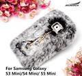 Protective Back Case Covers Plush DIY Diamond Pandant Decoration TOP Rabbit Fur Cover Bag For Galaxy S3 Mini /S4 Mini /S5 Mini