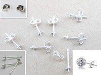 Free Jewelry Findings 20PCS Bulk 925 Sterling Silver Ear Pin Pairs Stud Earrings 925 BACK STOPPERS