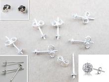 Free Jewelry Findings 100PCS Bulk 925 Sterling Silver Ear Pin Pairs Stud Earrings 925 BACK STOPPERS Post Handmade  FY-01+02