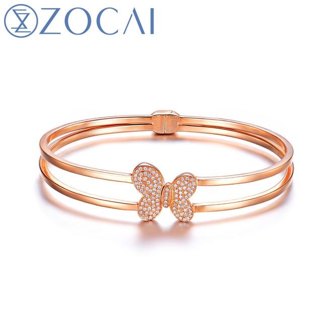 ZOCAI 2014 New Arriva 0.26 CT certified diamond 18K rose gold bangle Z00139