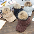 2016 Winter Hat Real Raccoon Fur Pompoms For Women Hip Hop Corduroy Baseball Cap Fur Pom Pom Snapback Casquette Bone Caps Gorras