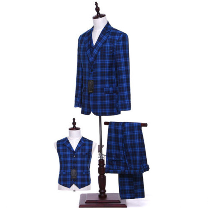 Jacket + Pants + Royal Blue Vest Women Chess Mixed Wool Suits Autumn Winter Single Breasted Office Uniform Female 3 Piece