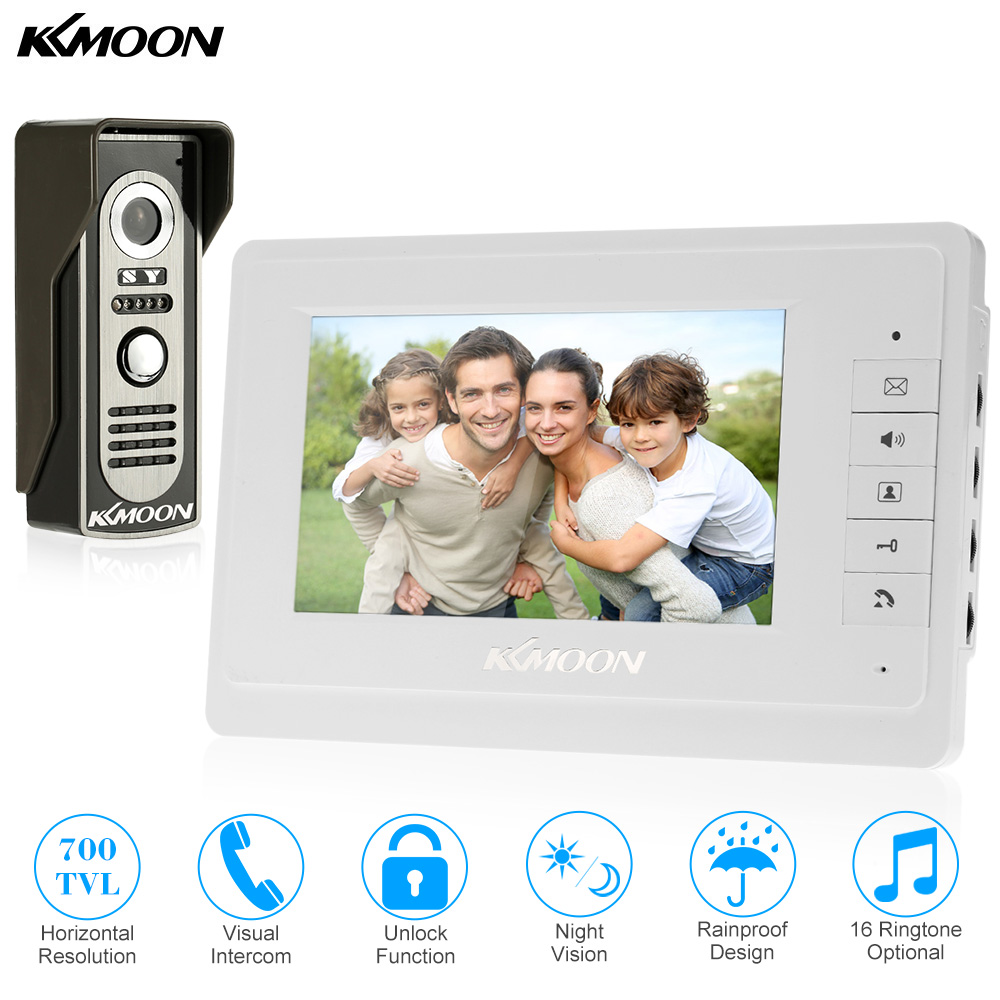KKmoon 7 TFT LCD Wired Video Door Phone System Visual Intercom Doorbell 800x480 Indoor Monitor 700TVL