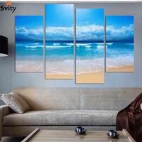 Fashion beach prints home decor decoration picture Beautiful canvas art cheap chinese oil painting 4 pcs/set no frame wholesale