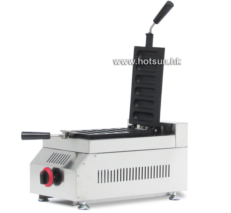 Commercial Non-stick 6 Slice LPG Gas French Hot Dog Waffle Stick Maker Iron Machine commercial non stick lpg gas rotated 4 slice heart shaped waffle iron maker baker machine