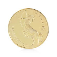 Gold Plated 12 Constellation Sagittarius Commemorative Coin Collectible Physical #K400Y#