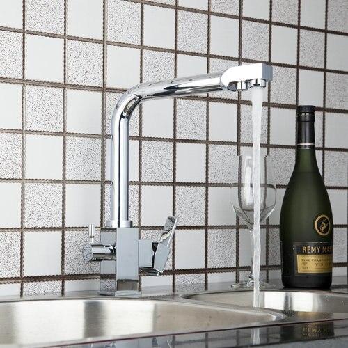 Best Double Spouts Spray Stream Swivel 360 Kitchen Torneira Chrome 8483 5 Basin Sink Water Tap