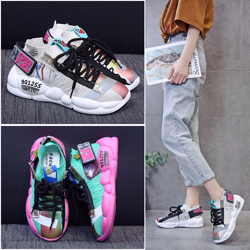 2019 Spring/Summer New Women Chunky Sneakers Harajuku Dad Shoes Casual Platform Sneakers Breathable Mesh Bling Sneakers2019 Spring/Summer New Women Chunky Sneakers Harajuku Dad Shoes Casual Platform Sneakers Breathable Mesh Bling Sneakers