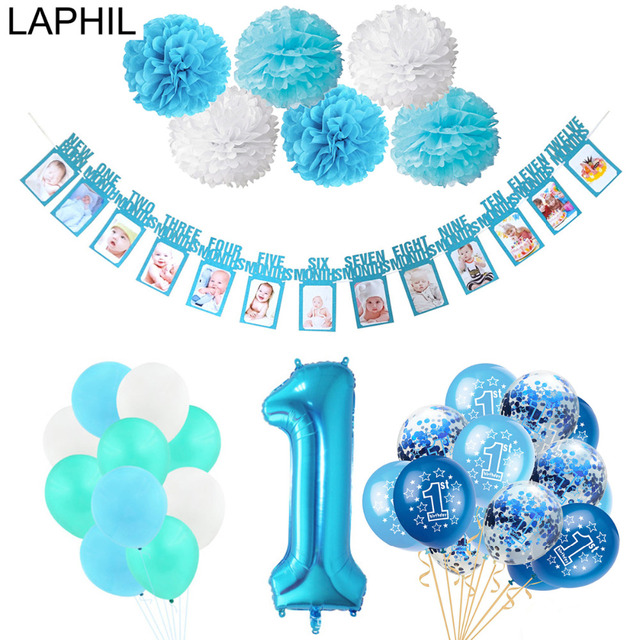 LAPHIL Baby Boy Girl 1st Birthday Balloon Blue Pink Photo Frame Banner My First Decoration Kids One Year Party Supplies