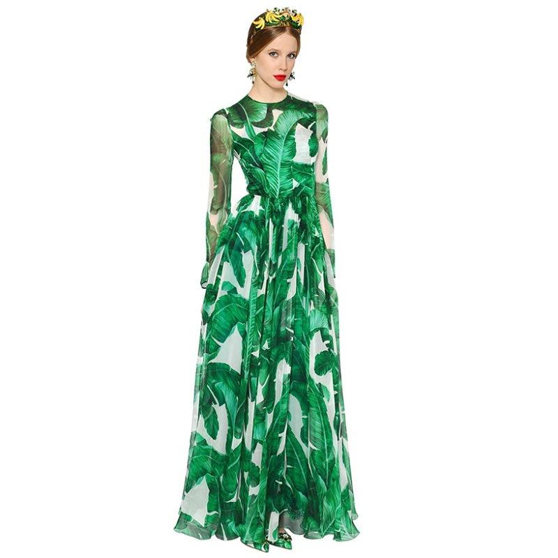 Femmes vert feuilles imprimé longue Maxi robe été automne bohème plage robes de grande taille vacances vert robes élégant