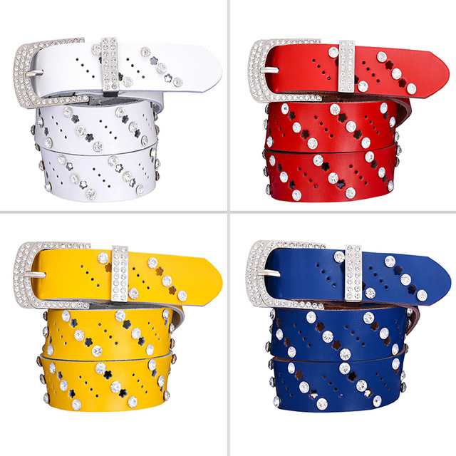 Women's Rhinestone Decorated Genuine Leather Wide Belt