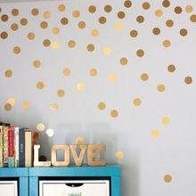 Gold Polka Dots Wall Sticker Baby Nursery Stickers Kids Golden Children Decals Home Decor DIY Vinyl Art