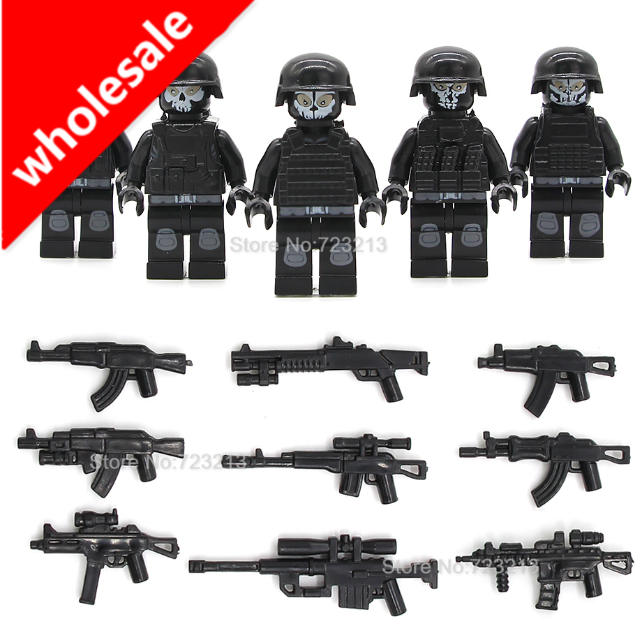 Wholesale 5pcs x 10set SWAT Ghost Soldier Military Gun Weapon Duty Call Building Blocks Sets Models Bricks Toys image