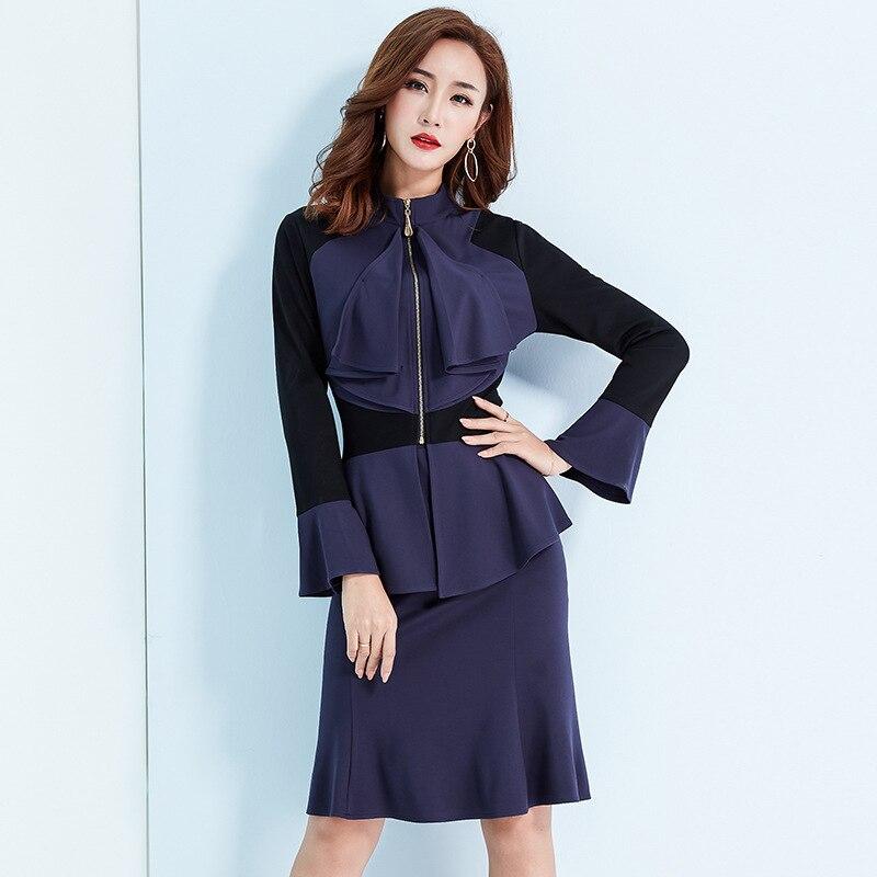 Couleur unie à manches longues chemise-automne nouvelle OL taille élastique femmes de costume couleur unie à manches longues micro-élastique jupe deux-pièce