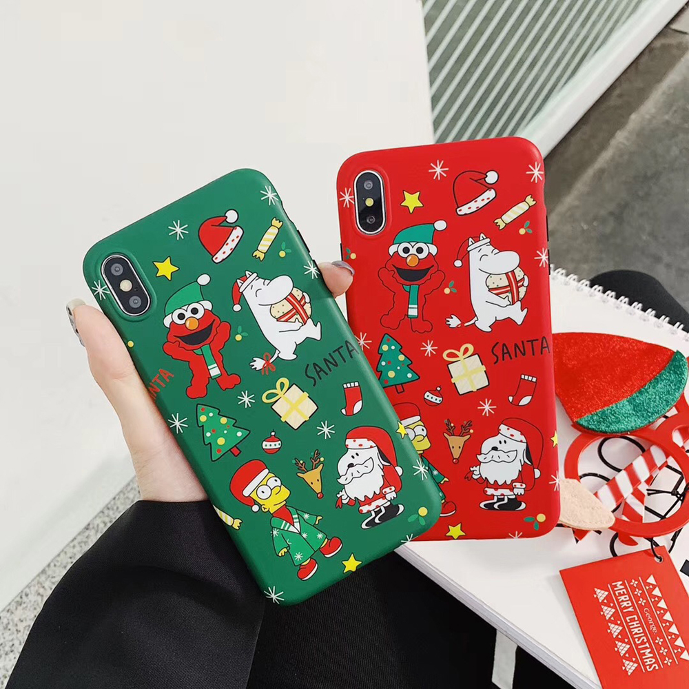 Christmas Phone Cases For iPhone 6 6s Plus 7 8 X Xs Max XR Elmo Simpson Gifts Shockproof Protector Fitted Back Covers Shell DJ05