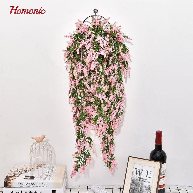 Colgante Artificial flores 80 cm lavanda estambre flor plantas con hojas de vid racimos decoración del jardín del hogar ratán P35
