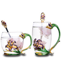 Iris Enamel Color Glass Tea Cup Creative Household Heat resistant Glass Birthday Gift Tumbler Five Plating Style Choose Cup