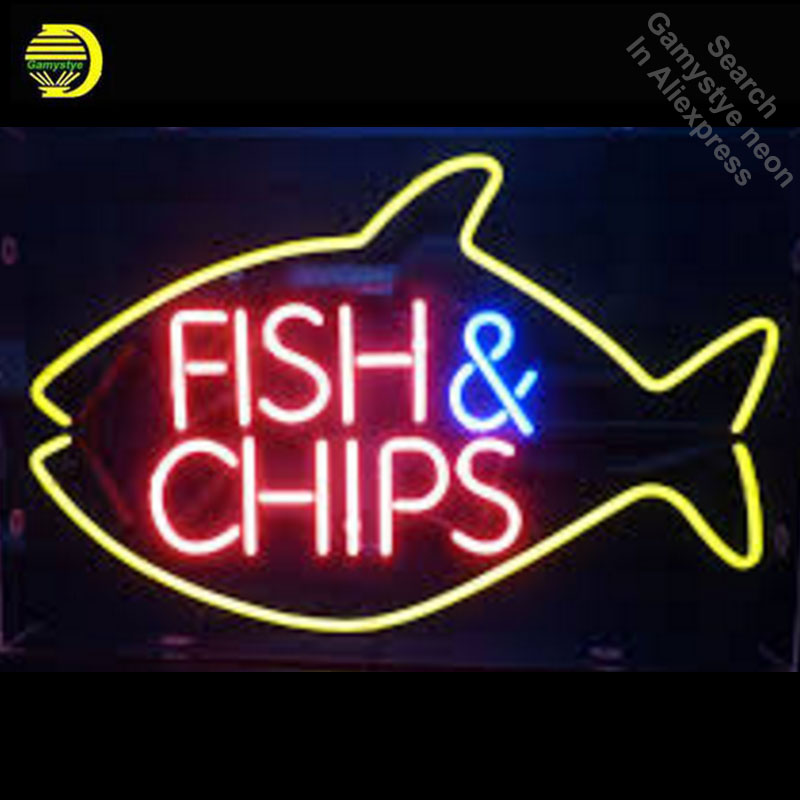 Fish and Chips Neon Sign REAL GLASS Tube BEER BAR PUB Light Sign Store Display Custom Handcraft Design Iconic Sign Pub Bar SignsFish and Chips Neon Sign REAL GLASS Tube BEER BAR PUB Light Sign Store Display Custom Handcraft Design Iconic Sign Pub Bar Signs