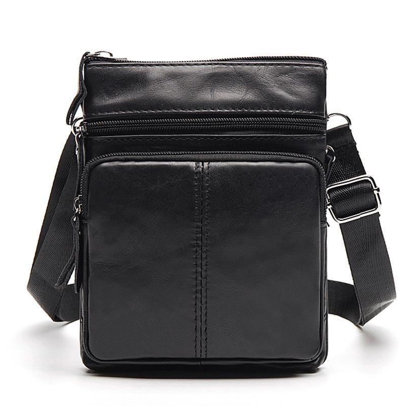 New Vintage Business Men Messenger Bag Genuine Leather Men's Bag Cowhide  Leisure Single-shoulder Cross-body Zipper Small Bag
