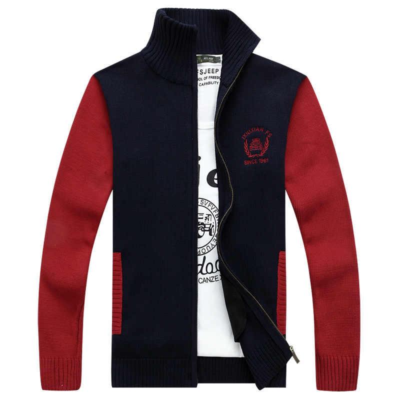 Осенние мужские свитера в стиле пэчворк, Повседневный Кардиган с воротником-стойкой и длинными рукавами, Мужская теплая трикотажная одежда, свитер, пальто и куртка для мужчин