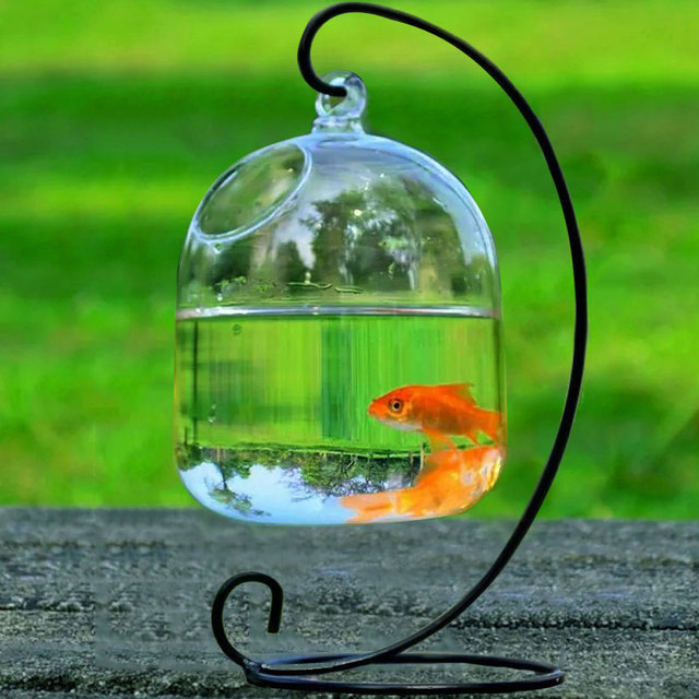Cute Mini Transparent Glass Hanging Flower Vase Fish Tank Home Decor