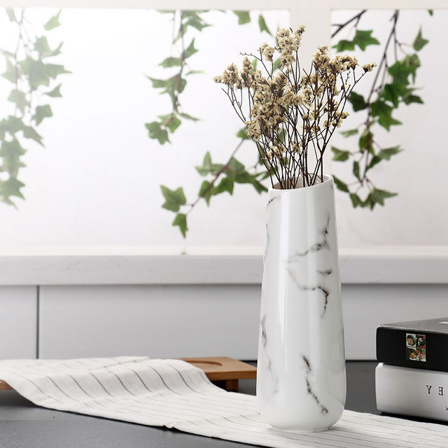 Marble Flower Inserted Ceramic White Tabletop Vase European Minimalist Vase Decoration Home Office Christmas New Year Decoration 1