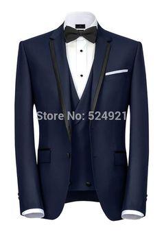Nuevo Novio Azul Marino Esmoquin Muesca Solapa Hombres Trajes De Boda Padrino (chaqueta + Pantalones + Chaleco + Pajarita) C422