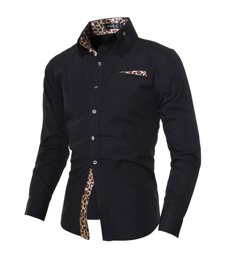 49845e77a97b 2019 New Man Shirt Long Sleeve Casual Solid Leopard Print Collar ...
