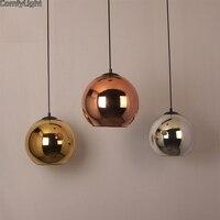 Vintage Gold/Silver Plated Glass Shade Pendant Lamps Nordic design Hanging lamp Modern Kitchen/Shop/Bar/Hall Pendant Lights E27