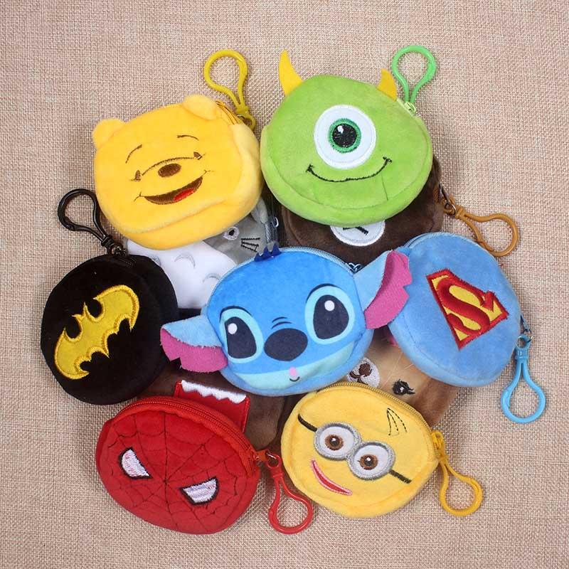 Hot On Sale Cartoon Spiderman/Batman/Bear Children Plush Coin Bag Zip Change Purse Wallet Kids Girl Women Gift With Keychain