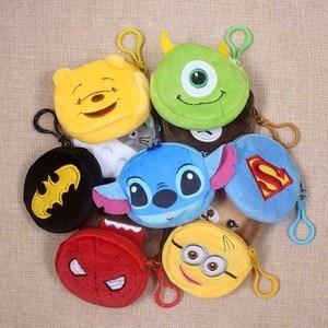 Hot On Sale Cartoon Spiderman/Batman/Bear Children Plush Coin Bag Zip Change Purse Wallet Kids Girl Women Gift With Keychain(China)