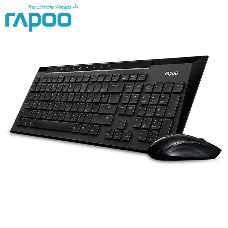 Original Rapoo X336 Mouse&keyboard Multimedia Wireless Keyboard and Mouse Combo for TV Laptops Desktops PC - 8200P Black air world hw098 2 black chocolate buttons 2 4g wireless keyboard and mouse set black