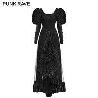 PUNK RAVE Gothic Lolita Szwy Duża Huśtawka Wieczorowa Sukienka Tube Czarny Długi Rękaw Księżniczka Suknie Party Prom Kobieta Odzież