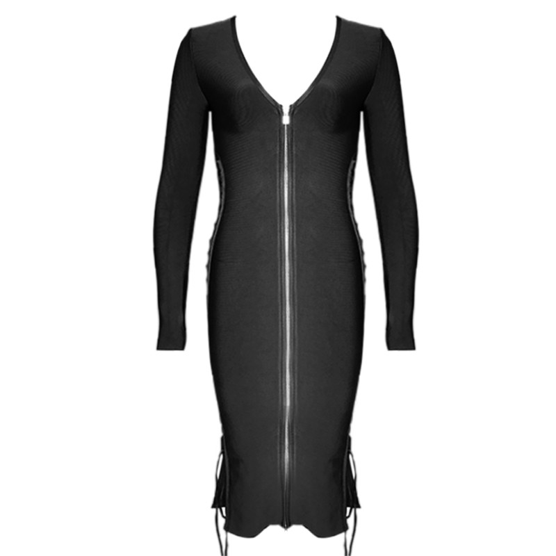 Long Sleeve Bodycon Dress with Zipper Front 2016 New Arrival Black Bodycon Midi Bandage Dress Sexy Bodycon Party Dresses цена
