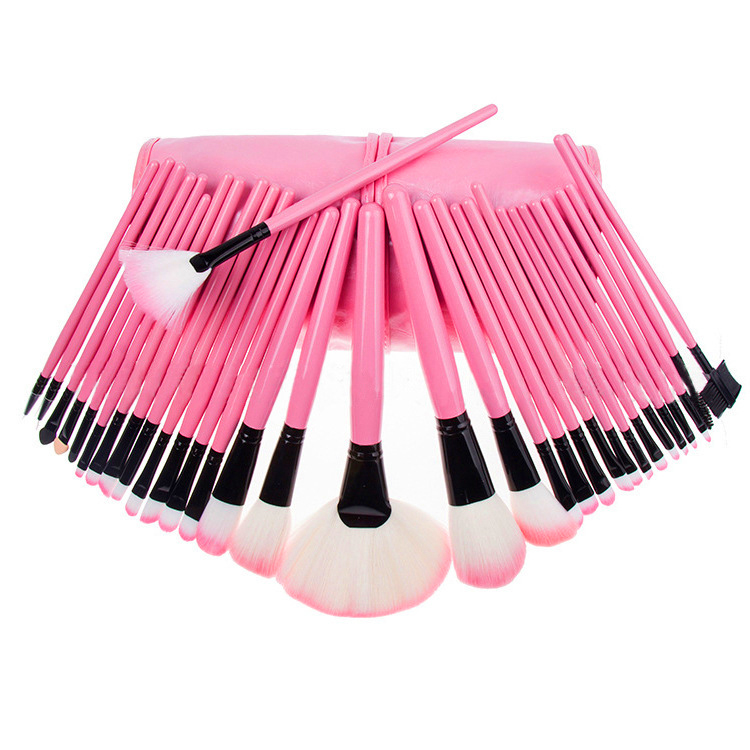 Suitable for salon, party, bride, or home Pink 32pcs Pro soft Makeup Brush Set Cosmetic Brushes Kit+Pouch Bag