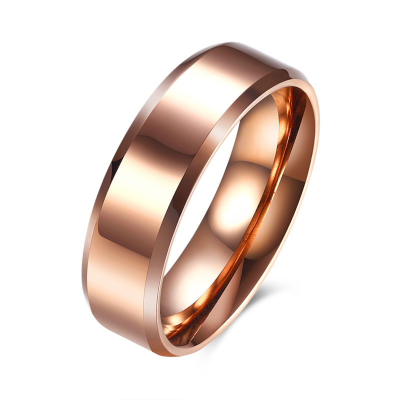 6MM Polished Rose Gold Cover Carter Ring For Titanium Stainless Steel Wedding Bands Ring Man For Party Jewelry New Snap Jewelry