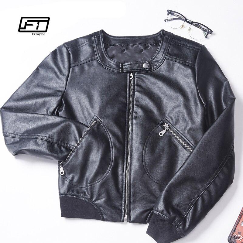 Fitaylor 2018 Faux En Cuir Veste Femmes Plus La Taille S-5XL O-cou Zipper Casual Veste Courte Femelle Veste Motard Noir Rose Manteau