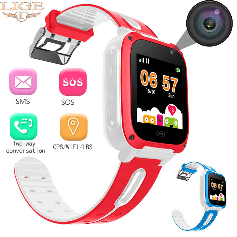 LIGE brand children's smart watch smart kid watches LBS positioning real-time monitor sos call voice chat gift reward baby watch