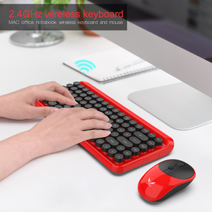 Image 3 - ZERODATE Neue mode retro drahtlose tastatur und maus set 2,4g maus und tastatur set rot stil Geeignet für PC notebooks