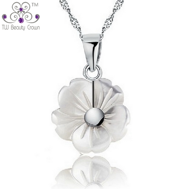 2ba0851a032138 Hot Selling Real 925 Sterling Silver Natural Mother Of Pearl Pearl Shell Flower  Necklace For Women Fashion Jewelry
