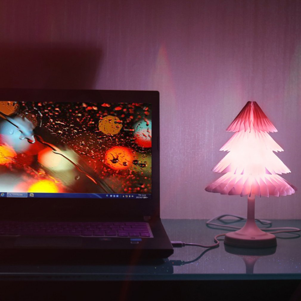 Icoco USB recharageable красочные светодиодный сенсорный Управление ночник мини Рождество дерево настольная лампа складная книга Форма лампы для 11.11