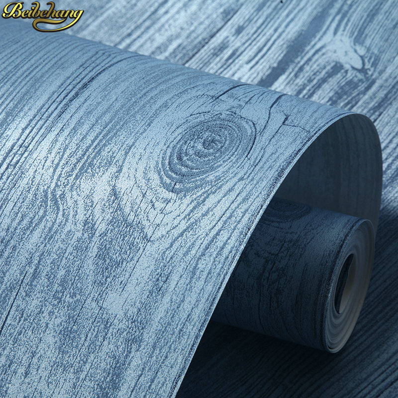 beibehang American Wooden Wallpaper Blue Mediterranean Retro Living Room Background Wall Striped Wall paper papel de parede beibehang mediterranean blue striped 3d wallpaper non woven bedroom pink living room background wall papel de parede wall paper